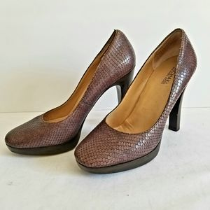 MICHAEL Women's Leather Snakeskin Print Pumps 9M